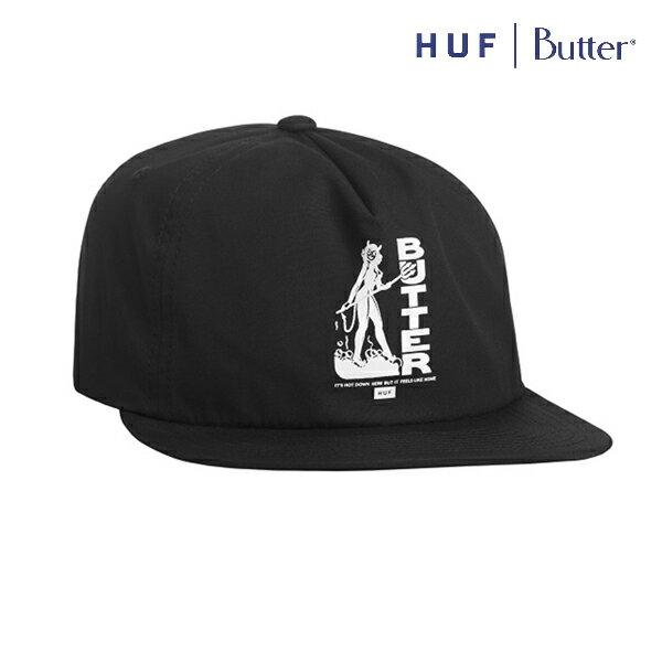 【HUF×BUTTERGOODS】DEVIL SNAPBACK カラー:black 【ハフ】【バターグッズ】【スケートボード】【帽子/キャップ】
