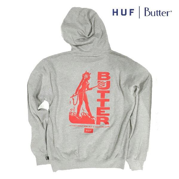 【HUF×BUTTERGOODS】DEVIL P/O HOODIE カラー:heather grey 【ハフ】【バターグッズ】【スケートボード】【フード/プルオーバー】