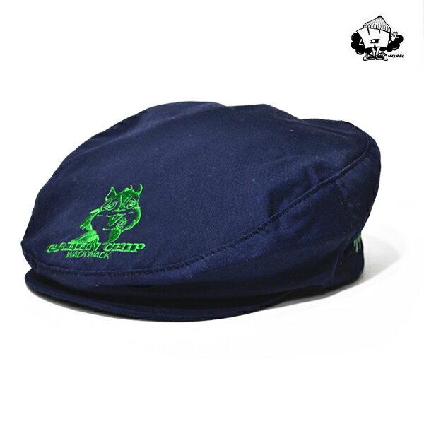 【WACKWACK】GREEN CHIP hunting cap カラー:navy 【ワックワック】【スケートボード】【キャップ/帽子】