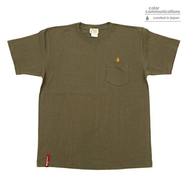 【COLOR COMMUNICATIONS】DRIP EMB POCKET カラー:olive 【カラーコミュニケイションズ】【スケートボード】【Tシャツ/半袖】