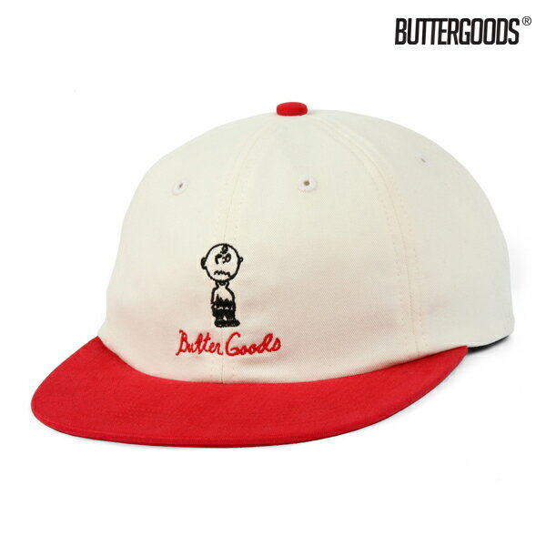 【BUTTER GOODS】TROUBLE IN MIND 6PANEL CAP カラー:vanilla/red 【バターグッズ】【スケートボード】【キャップ/帽子】