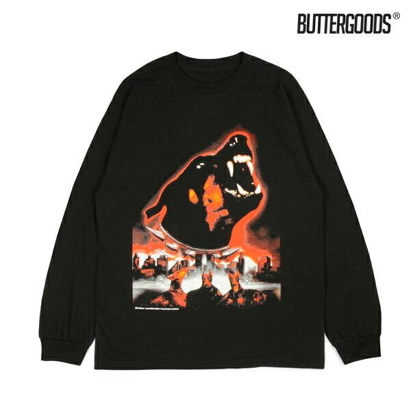 【BUTTER GOODS】DOBERMAN LONG SLEEVE TEE カラー:black 【バターグッズ】【スケートボード】【Tシャツ/長袖】