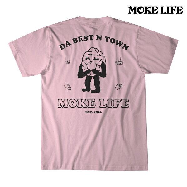【MOKE LIFE】LI HING tee カラー:pink 【モークライフ】【スケートボード】【Tシャツ/半袖】