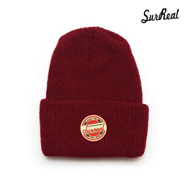 【SURREAL】RONNIE -Knit Beanie-カラー:burgundy 【シュルリアル】【スケートボード】【ビーニー/帽子】