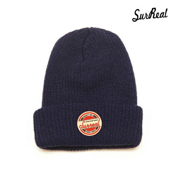 【SURREAL】RONNIE -Knit Beanie-カラー:navy 【シュルリアル】【スケートボード】【ビーニー/帽子】