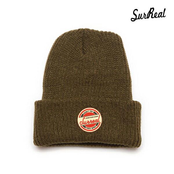【SURREAL】RONNIE -Knit Beanie-カラー:khaki 【シュルリアル】【スケートボード】【ビーニー/帽子】