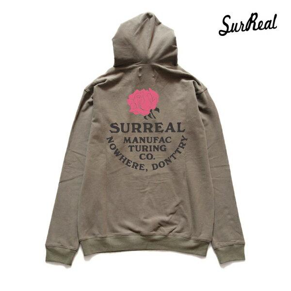 【SURREAL】SMITTY -Hooded Sweat Shirt- カラー:olv 【シュルリアル】【スケートボード】【フード/プルオーバー】