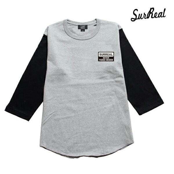 【SURREAL】ELMORE -Set in Sleeve T-Shirt-カラー:gry/blk 【シュルリアル】【スケートボード】【ロングスリーブ】