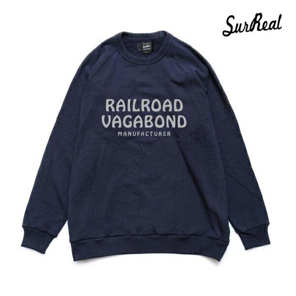 【SURREAL】CROOKS -Jersey Stitch Raglan Sweat Shirt-カラー:nvy【シュルリアル】【スケートボード】【スウェット/クルーネック】