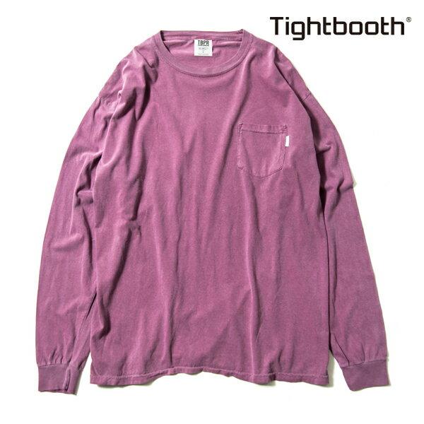 【TBPR/TIGHTBOOTH PRODUCTION】 GARMENT DYED LONG SLEEVE カラー:azuki 【タイトブースプロダクション】【スケートボード】【Tシャツ/長袖】