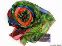 スカーフ シルク100% 大判 ストール マフラー シフォン 【羽毛 D】 ブルー 青 赤 緑 グリーン レッド 鳥 カラフル 絹 …