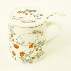 【マグカップ】【ネコ雑貨】ハーブマグキャットラズベリー