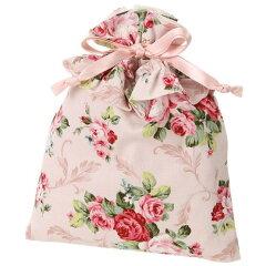 【巾着】【小物入れ】巾着パンセアラローズリーフローズフリルピンク