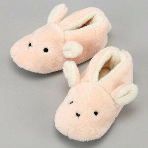 【ルームシューズ】【モコモコ】ルームシューズ 子供用 ウサギボアスリッパ 〜19cm ピンク