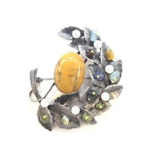 【ブローチ】【パール】ブローチ 天然石 リーフパール
