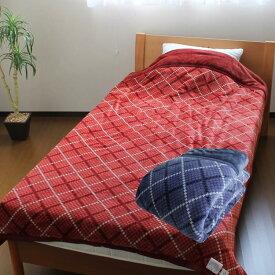 昭和西川衿付き2枚合わせ綿入り毛布チェック柄【送料無料】あす楽