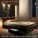 【送料無料】 スリムモダンライト付き収納ベッド スタンダードボンネルコイル マットレス付き ダブル