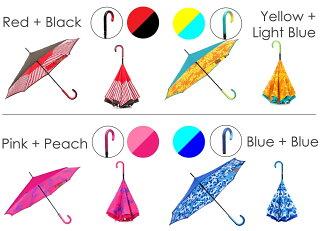 【送料無料】【CarrysaKASA(キャリーサカサ)】傘逆さ傘濡れない長傘逆さまの傘UVカットTeflon認証オシャレ超撥水グラスファイバー骨