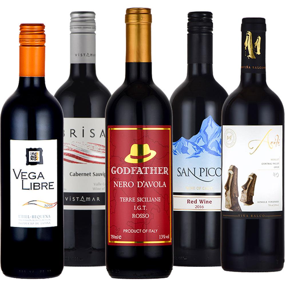 赤ワインセット デイリーワイン 5本セット 送料無料 ワインセット スペイン チリ イタリア 飲み比べ