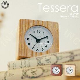 【インターフォルム公式】 Tessera テッセラ 目覚まし時計 | 時計 おしゃれ お洒落 かわいい インテリア 目覚まし アラームクロック アラーム ステップムーブメント 置時計 北欧 シンプル ナチュラル リビング 寝室 キッチン 洗面所 一人暮らし 木製フレーム 見やすい