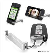 携帯スタンドアルミスタンドスマホスタンド送料無料iPhone5siPhone5iphone6siPhone6plus4thdesignジュラルミンstand-PortableRight-メタルプレミアム持ち運びコンパクト収納ストラップホール05P01May16