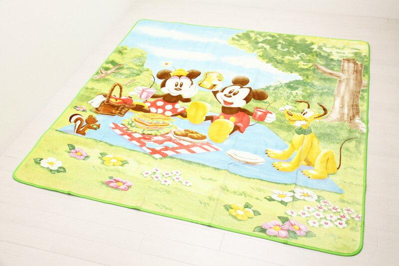 ディズニー ミッキーマウス&ミニーマウス ポータブルカーペット 約190cmX190cm
