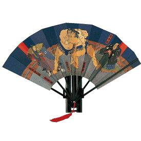 相撲浮世絵 飾り扇子 9寸 7間 房付相撲絵図扇 小野川飾り台、化粧箱付せんす うちわ 団扇