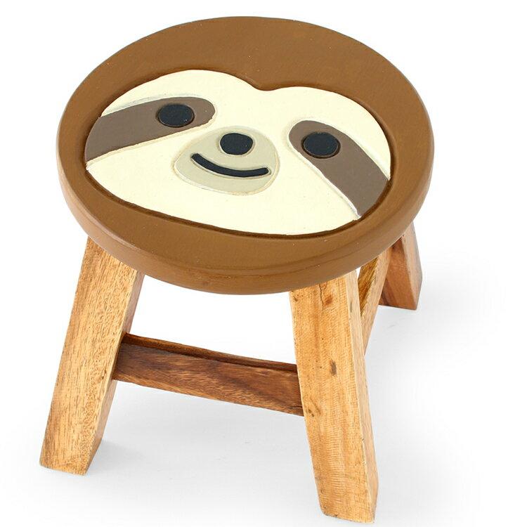 ウッドスツール ナマケモノ Φ25×H25〜26cm 送料無料 アカシア製 天然木 手作り ディスプレイ台 腰掛 可愛い 動物 ラウンドスツール 椅子