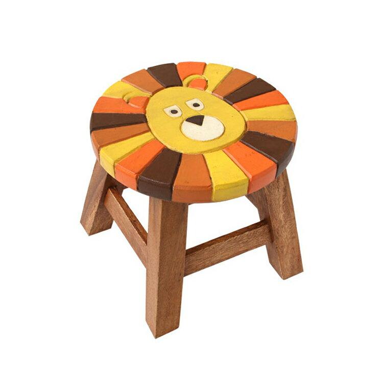 ウッドスツール らいおん (約)Φ25×H23〜25cm 送料無料 アカシア製 天然木 手作り ディスプレイ台 腰掛 可愛い 動物 ラウンドスツール 椅子 ライオン