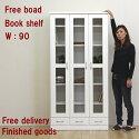 本棚書棚フリーボード食器棚CDDVD収納ホワイト白鏡面ツヤあり幅9090幅高さ180cm開き戸引き出し本収納日本製完成品MDFエナメル塗装送料無料楽天通販