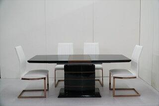 ダイニングテーブル伸長式ダイニングセットダイニング5点セット幅140~180cm奥行き80cm高さ72cmダイニングチェアガラステーブル強化ガラスエナメル食卓セットおしゃれ可愛い