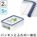 保存容器 イージーケアタイト 2L プラスチック製 5個セット 密閉型 抗菌 電子レンジ対応 ( プラスチック保存…