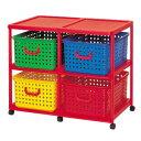 バスケットラック キッズ収納 キャスター付き 4個2段 ( 送料無料 おもちゃ箱 収納ボックス 子供用 引き出し ラ…