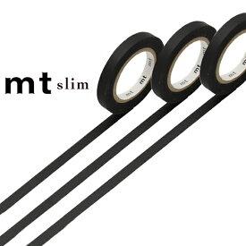 マスキングテープ スリム mt slim J マットブラック 幅6mm ( マスキング テープ マステ カモ井加工紙 エムティー 和紙テープ ラッピング デコレーション コラージュ ラッピングテープ 無地 黒 黒色 ブラック )【39ショップ】
