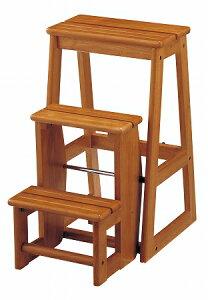 ステップチェア 3段 木目 ブラウン( 踏み台 脚立 椅子 イス 木製 チェア 送料無料 )【39ショップ】