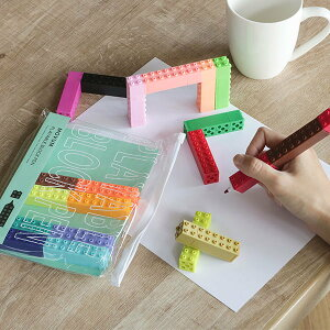 ペン ブロック 20色入 モヴム 専用袋付 ( ブロックペン マーカー マーキングペン 文具 文房具 カラーペン つなぐ 組み立てる 並べる 収納ケース付き カラフル かわいい 持ち運び コンパクト