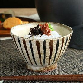 茶碗 367ml 内粉引二色千段十草 和食器 美濃焼 陶器 日本製 ( お茶椀 深め 和柄 十草 茶わん おちゃわん ご飯茶碗 渋い 食器 和風 ごはん 器 )【39ショップ】