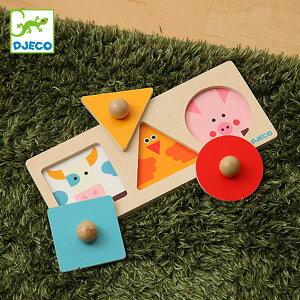 パズル 動物 フォーマ ベーシック おもちゃ 知育玩具 木製 ( ジェコ DJECO はめ込みパズル 3ピース 三角 四角 持ちやすい 型はめパズル 形あわせ はめこみ 簡単 幼児 12ヶ月 1歳 )【39ショップ