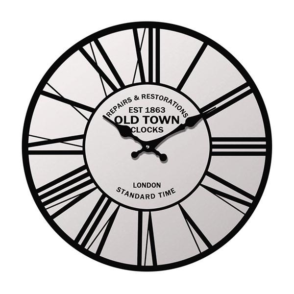 掛け時計 置き時計 卓上ガラス時計 ROUND 17cm Old Town オールドタウン ローマ数字 ( アナログ 時計 壁掛け時計 インテリア 雑貨 おしゃれ 掛時計 とけい クロック ガラス 置掛兼用 卓上 置き掛け ウォールクロック )【5000円以上送料無料】