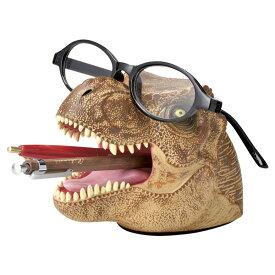 デスクキーパー ペン立て メガネスタンド 文房具 ティラノサウルス 恐竜 ( 文具 眼鏡スタンド めがねスタンド プレゼント ダイナソー おもしろ ペンスタンド ペン入れ ペン メガネ メガネ置き グッズ 雑貨 デスク用品 インテリア )【39ショップ】