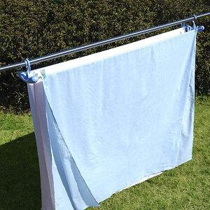 洗濯ハンガー シーツゆったりのびのびハンガー3枚掛け ブルー ( 物干しハンガー シーツ干し ステンレスハンガー シーツ 大型 洗濯物干し 室内干し 部屋干し 洗濯用品 ランドリー ステン