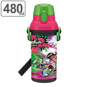 水筒 子供 スプラトゥーン2 直飲みプラワンタッチボトル 480ml キャラクター ( 食洗機対応 幼稚園 保育園 子供用水筒 プラスチック 軽量 プラスチック製 直飲み ワンタッチ マグボトル 子供