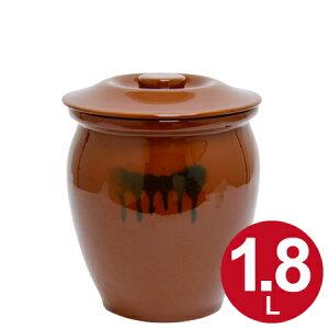 漬物容器 丸かめ 1号 1.8L 蓋付き 陶器 ( 漬物樽 つけもの容器 漬け物容器 ぬか漬け 漬けもの 漬物器 かめ 壺 保存容器 )【39ショップ】