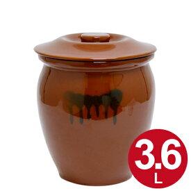 漬物容器 丸かめ 2号 3.6L 蓋付き 陶器 ( 漬物樽 つけもの容器 漬け物容器 ぬか漬け 漬けもの 漬物器 かめ 壺 保存容器 ) 【5000円以上送料無料】