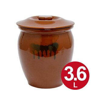 漬物容器 丸かめ 2号 3.6L 蓋付き 陶器 ( 漬物樽 つけもの容器 漬け物容器 ぬか漬け 漬けもの 漬物器 かめ 壺 保存容器 )【39ショップ】