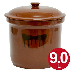 漬物容器 切立かめ 5号 9L 蓋付き 陶器 ( 送料無料 漬物樽 つけもの容器 漬け物容器 ぬか漬け 漬けもの 漬物器 かめ 壺 保存容器 )【39ショップ】