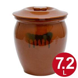 漬物容器 丸かめ 4号 7.2L 蓋付き 陶器 ( 漬物樽 つけもの容器 漬け物容器 ぬか漬け 漬けもの 漬物器 かめ 壺 保存容器 ) 【5000円以上送料無料】