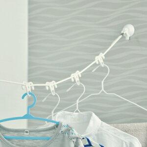洗濯ロープ バスルーム洗濯ロープ 洗濯 ロープ 紐 ( 物干しロープ ランドリーロープ 浴室 2m 吸盤 ハンガー固定 フック 室内干し 浴室干し 物干し竿 小物 簡単 出張 旅行 ランドリー )【39シ