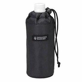 ペットボトルカバー シンプル ブラック 500ml用 ( ボトルケース カバー ケース 水筒カバー アルミ加工 マイボトル ペットボトル 保冷 保温 ペットボトルケース 500ml 紐付き )【39ショップ】