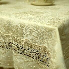テーブルクロス 撥水約130×230cm6人掛けジャカード織 & ローズ モチーフ ギュピール レース高級感のある洗えるテーブル用品 グラシュー